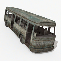 damaged bus 3d model