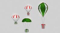 3d model parachute gift box