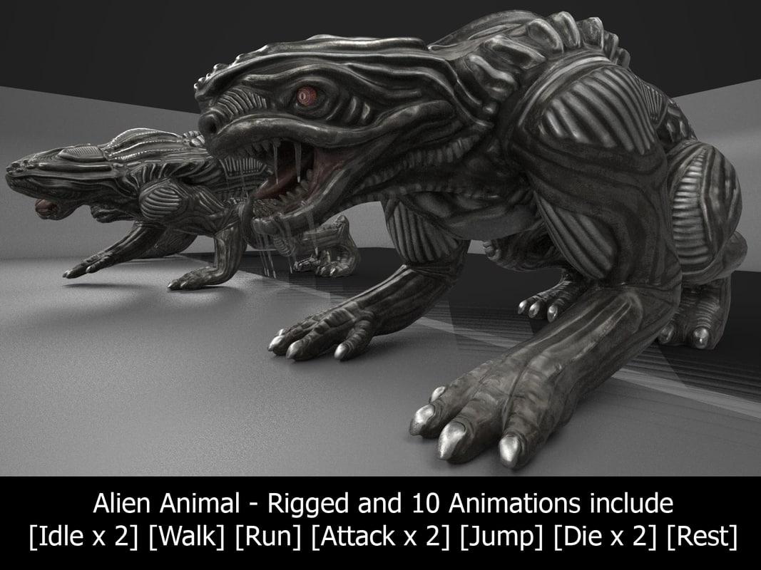 3d alien animal rigged