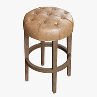 Restoration Hardware /Bennett Round Leather Stool