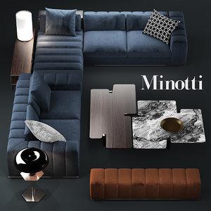 3d sofa minotti freeman model