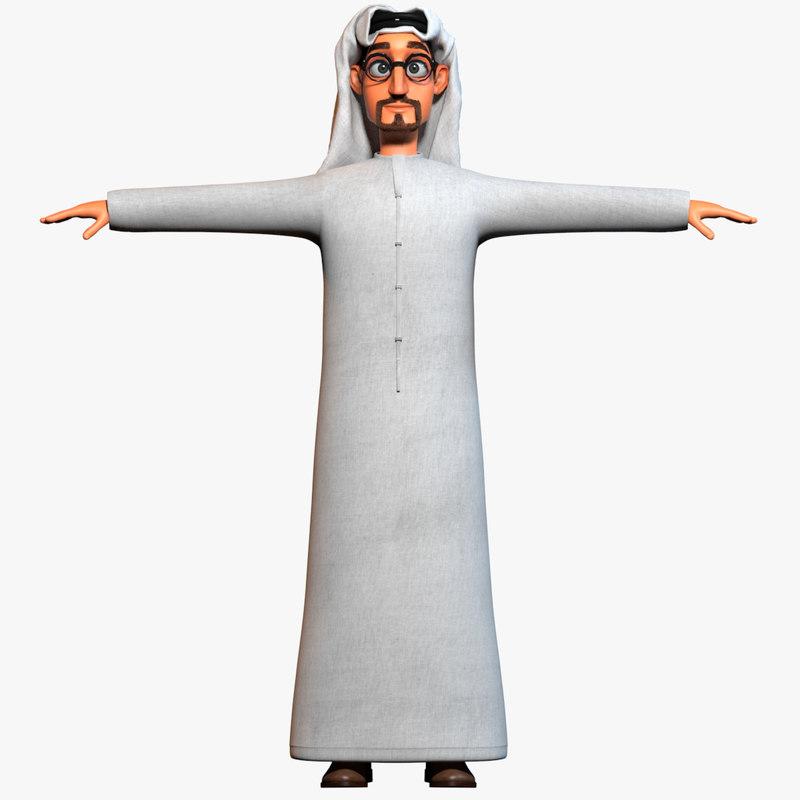 3d model cartoon arab man body