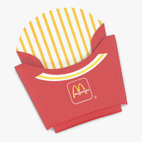 3d model folded french fry box