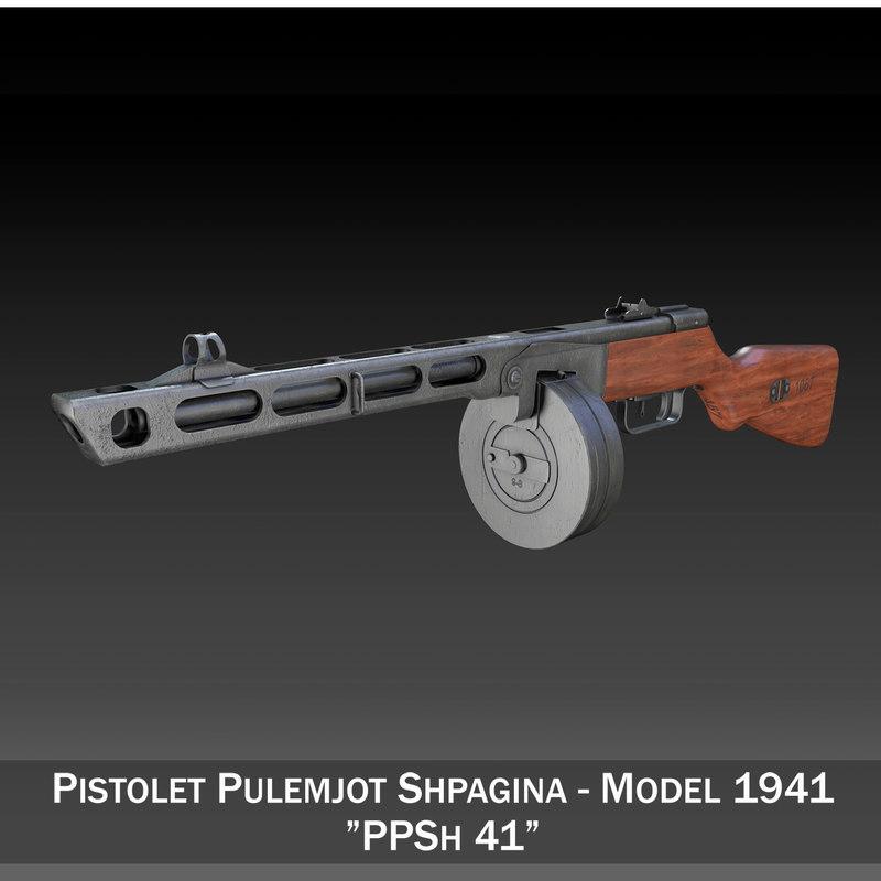 3d model ppsh-41 - soviet submachine gun