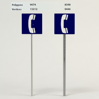 3d telephone sign model
