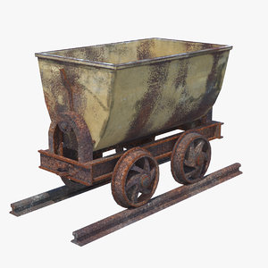 3d rusted mining cart pbr model