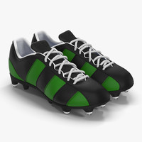 3d football boots 2 green model