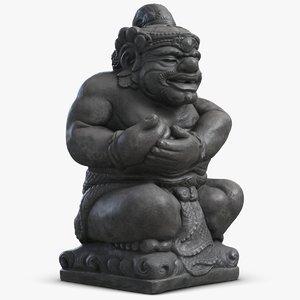 3d model statue bali guard 2