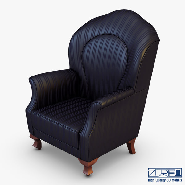 3d model of imperatrice armchair black