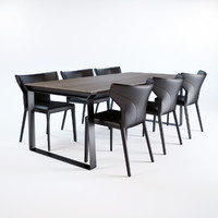 omega-table-and-pigreco-chairs 3d model