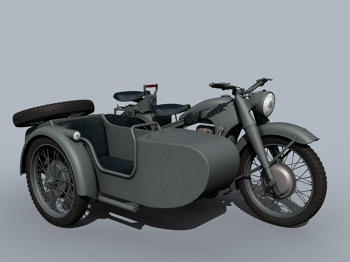 3d model of bmw r-12 wwii sidecar