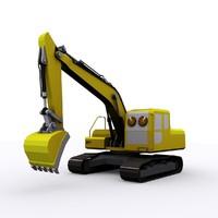 3d model cartoon excavator