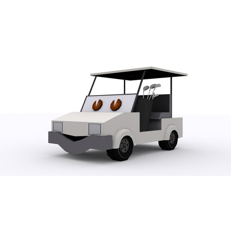3d Model Golf Cart Cartoon