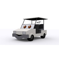 3d model golf cart cartoon