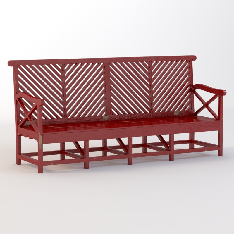 outdoor garden bench 3d model