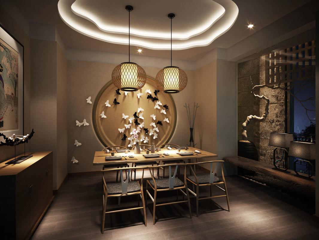 Japanese restaurant interior d model