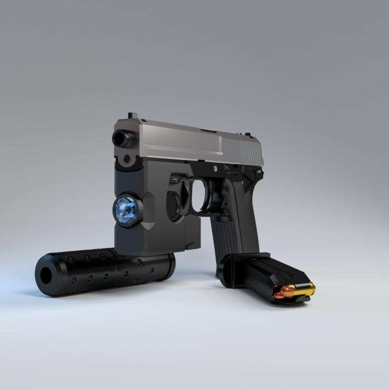 3d model hi-polygon pistol mk23