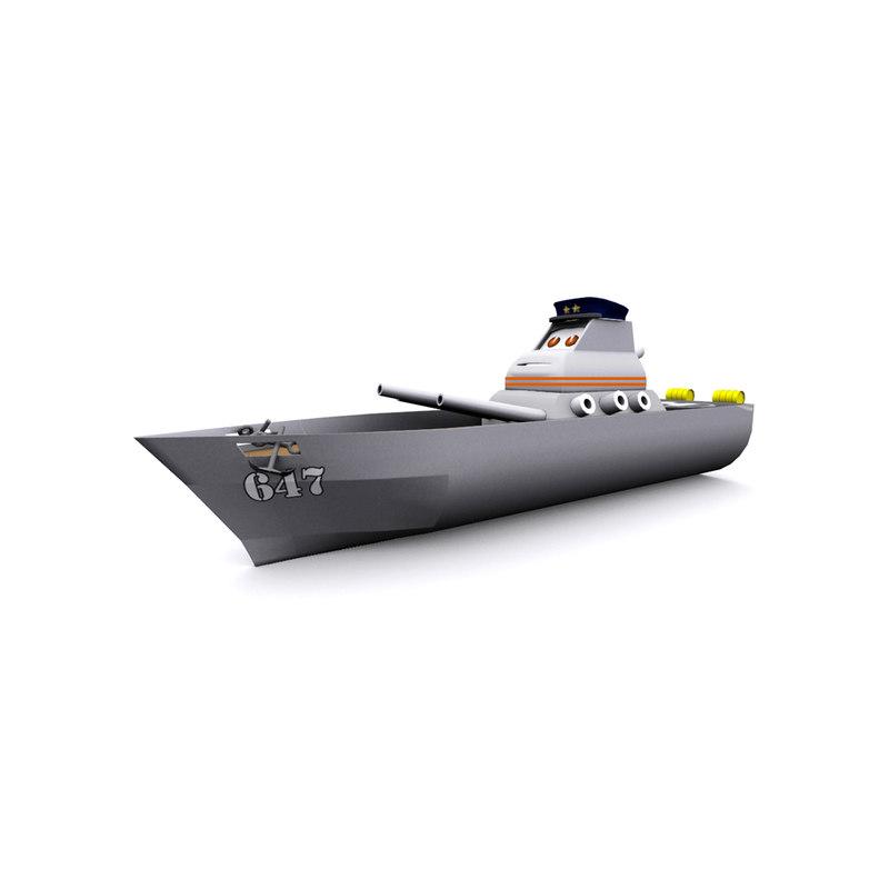 cartoon warship 3d model