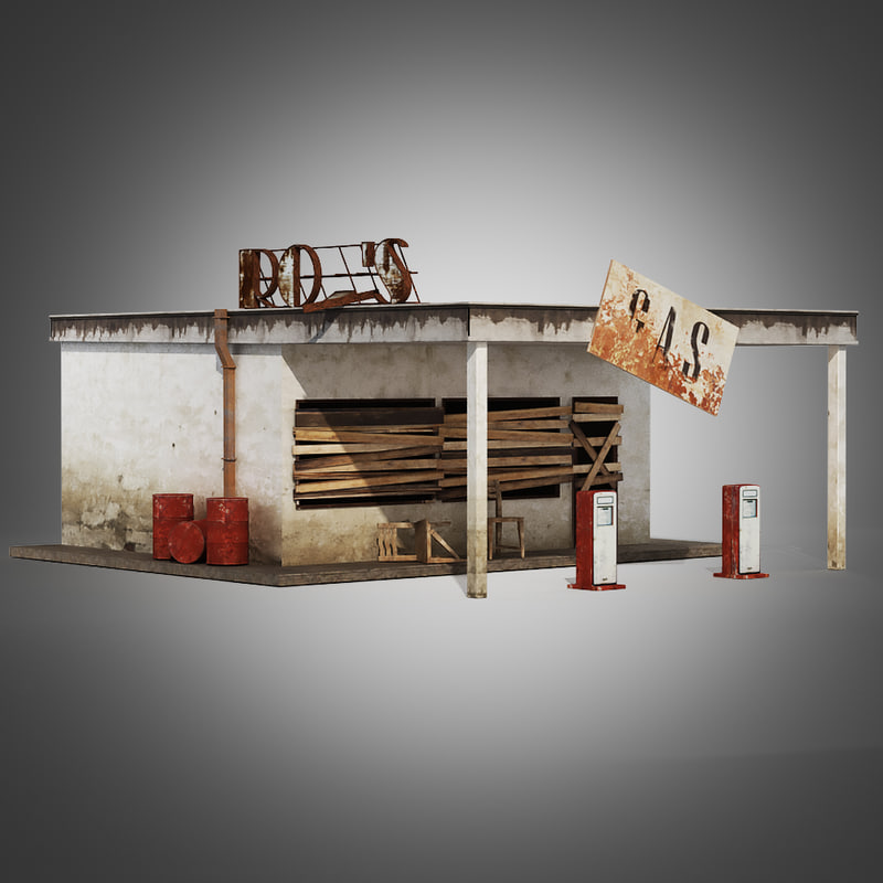3d old gas station