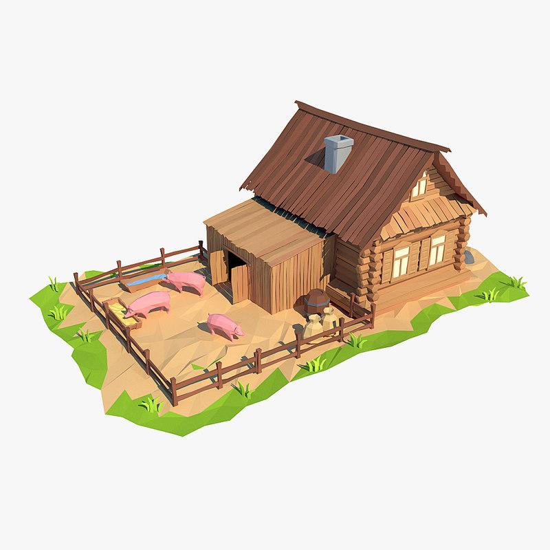 wooden house cartoon 3d max