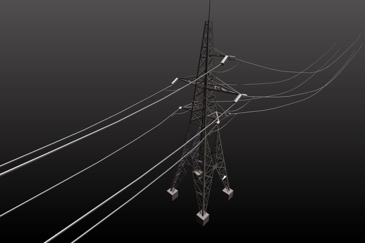 3d power line 110 kv model