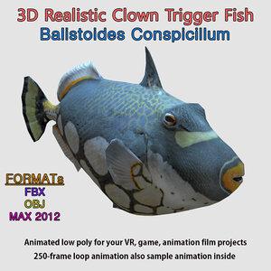 clown trigger fish rigged max