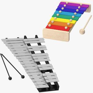 3d model glockenspiel xylophone