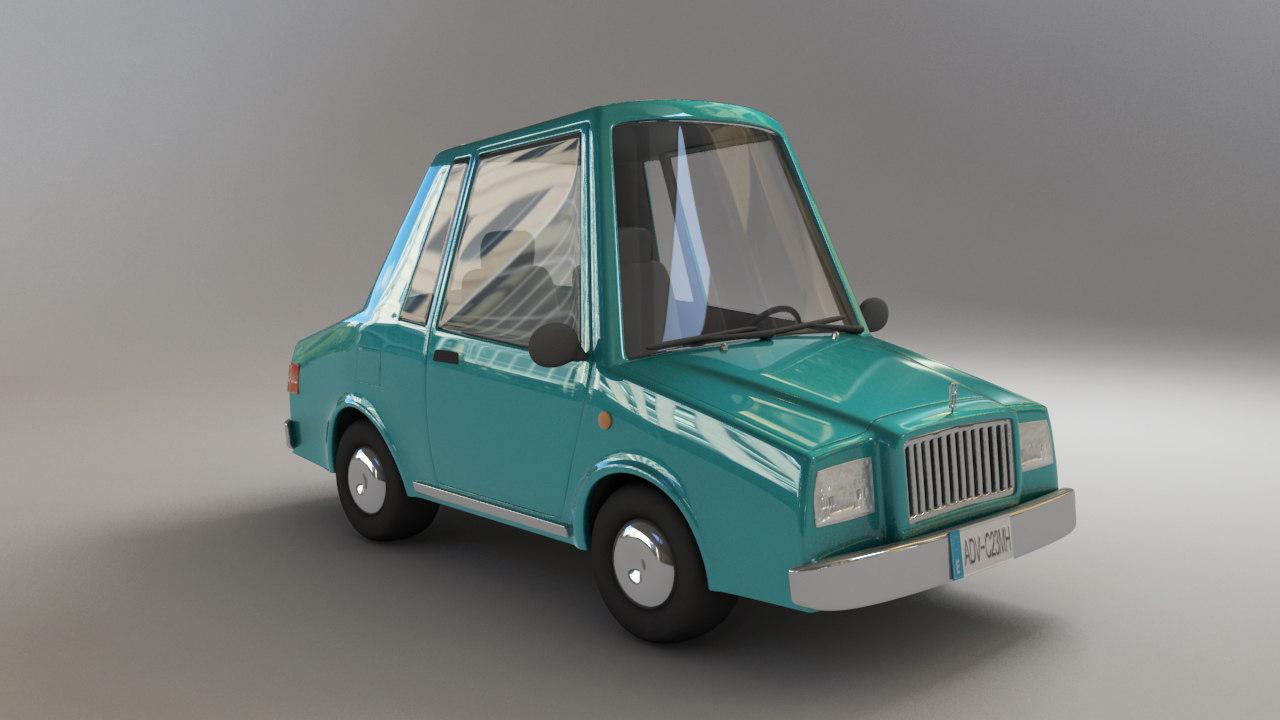 classic cartoon car 3d model