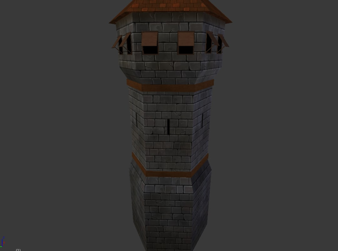 3d model of medieval tower rts