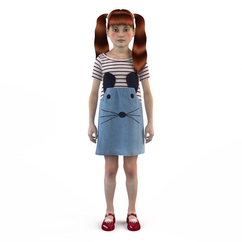 3d model fashion baby dressed girls