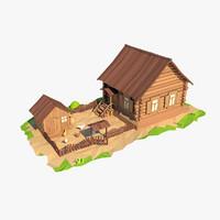 3d model wooden house cartoon