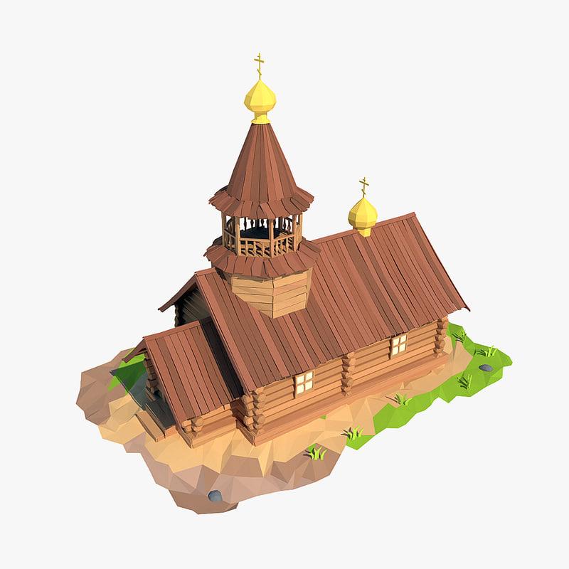 3d wooden church cartoon