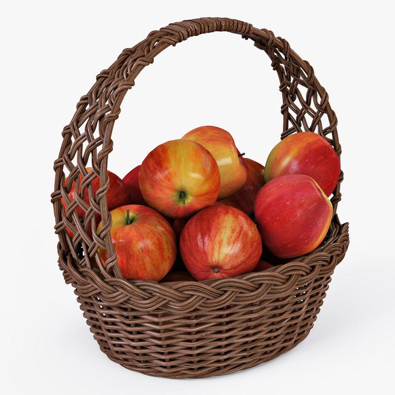 wicker basket apples color max