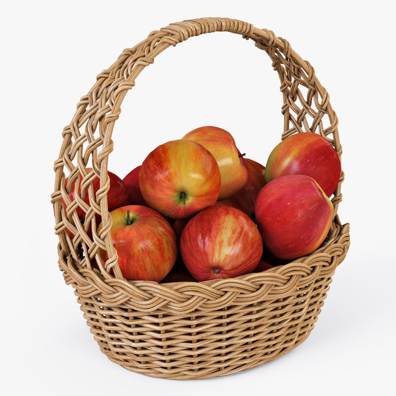 wicker basket apples color 3d obj