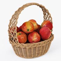 wicker basket apples color 3d obj
