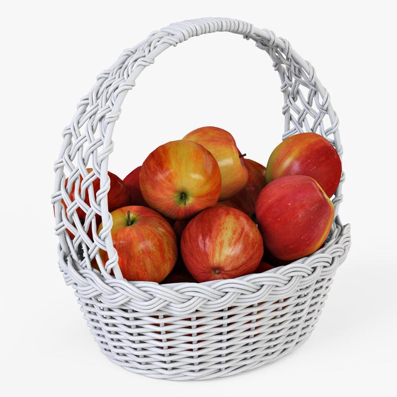 wicker basket apples color 3d model