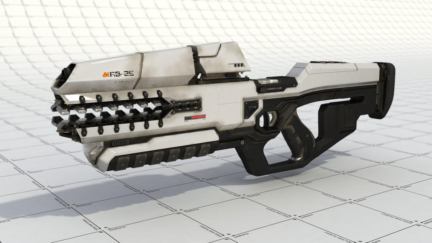 3d rifle rail gun model