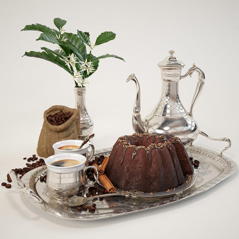 coffee chocolate tray 3d max