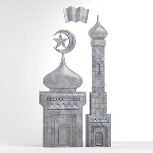 bas-relief mosque obj