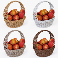 wicker basket apples color 3d model