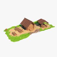 3d model of wooden sawmill cartoon