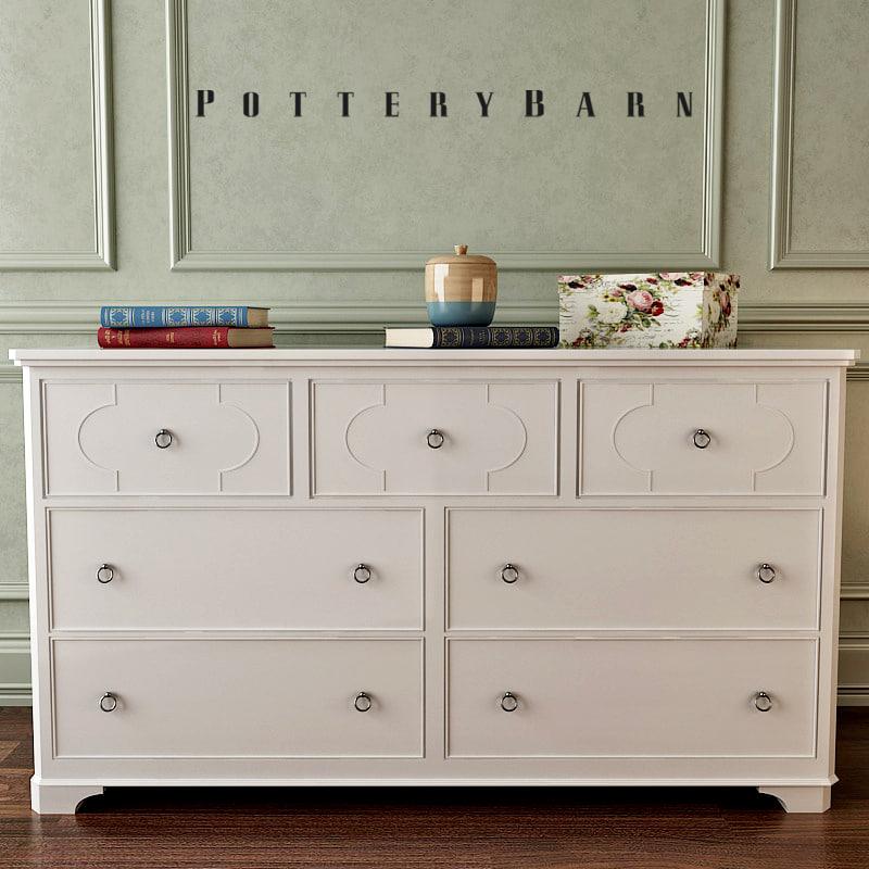 potterybarn shelby dresser hutch 3d fbx