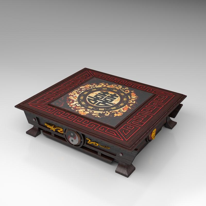 wood coffee table 3d model