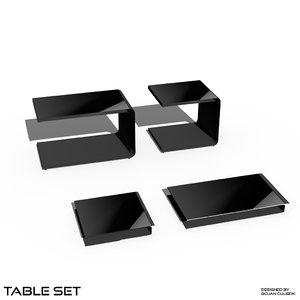 cube table set 2 3d model