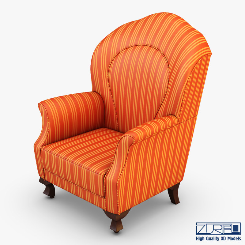 imperatrice armchair orange 3d fbx