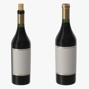 3d bordeaux bottles closed opened