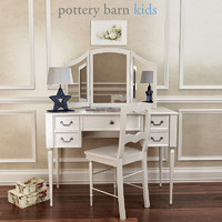 Pottery Barn,Blythe Desk And Mirror Vanity Hutch