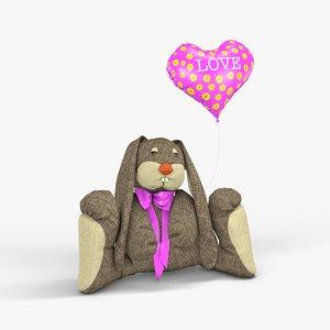 soft bunny toy balloon c4d