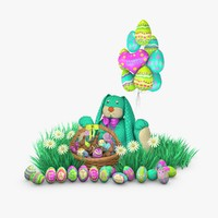 c4d celebration easter bunny