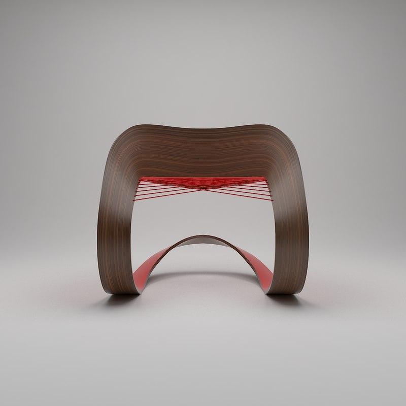 3d modern chair wood